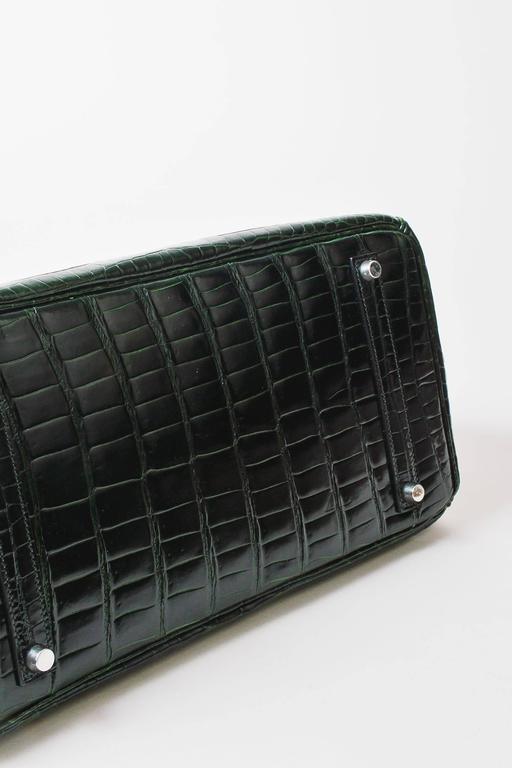 "Hermes Vert Fonce Crocodile Porosus Shiny Palladium Hardware ""Birkin"" 35 cm Bag 3"