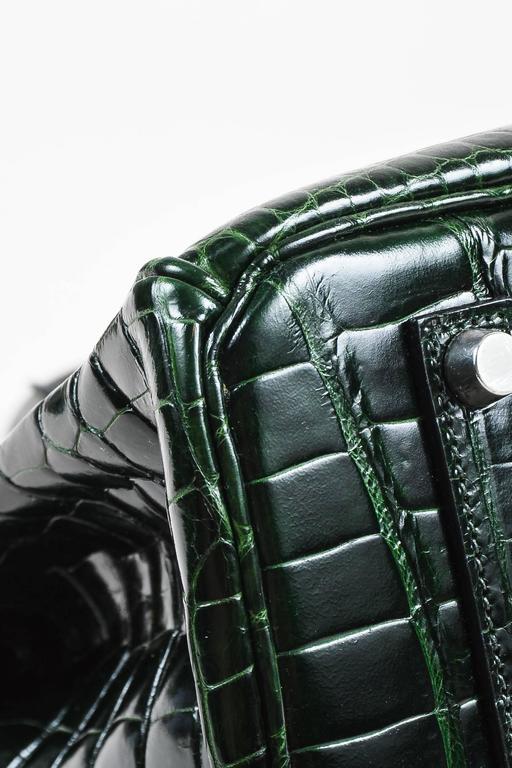 "Hermes Vert Fonce Crocodile Porosus Shiny Palladium Hardware ""Birkin"" 35 cm Bag 6"