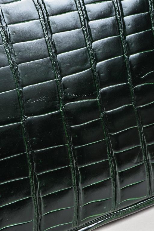 "Hermes Vert Fonce Crocodile Porosus Shiny Palladium Hardware ""Birkin"" 35 cm Bag 8"