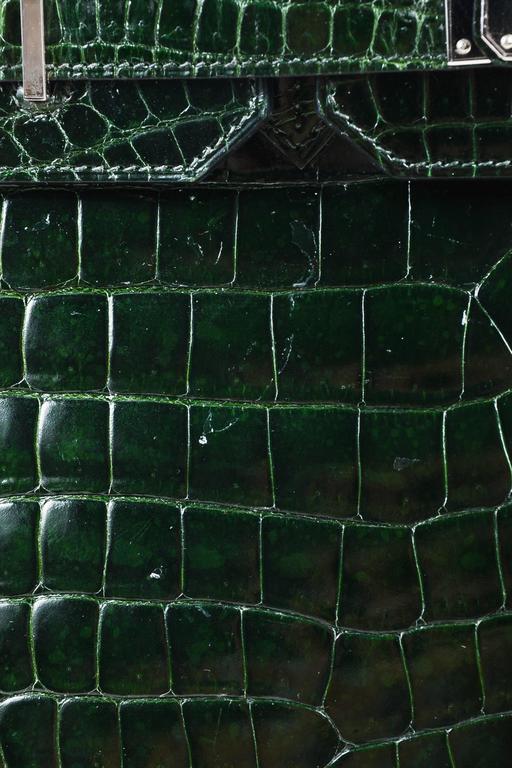 "Hermes Vert Fonce Crocodile Porosus Shiny Palladium Hardware ""Birkin"" 35 cm Bag 9"
