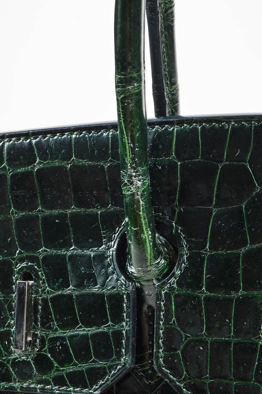 "Hermes Vert Fonce Crocodile Porosus Shiny Palladium Hardware ""Birkin"" 35 cm Bag 5"