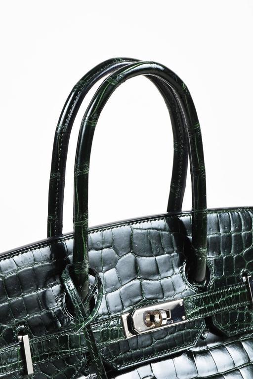 "Hermes Vert Fonce Crocodile Porosus Shiny Palladium Hardware ""Birkin"" 35 cm Bag 4"