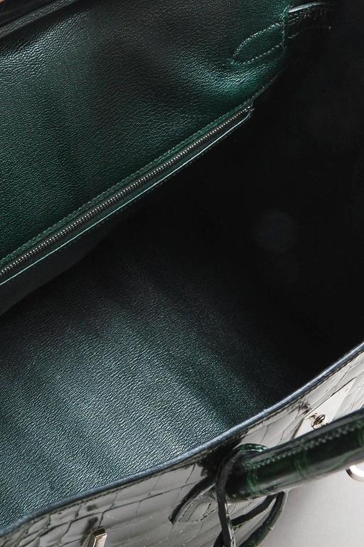 "Hermes Vert Fonce Crocodile Porosus Shiny Palladium Hardware ""Birkin"" 35 cm Bag 10"