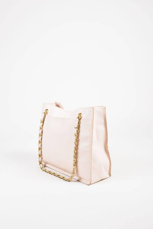 Chanel Blush Pink and Brushed Gold Tone Caviar Leather 'CC ...