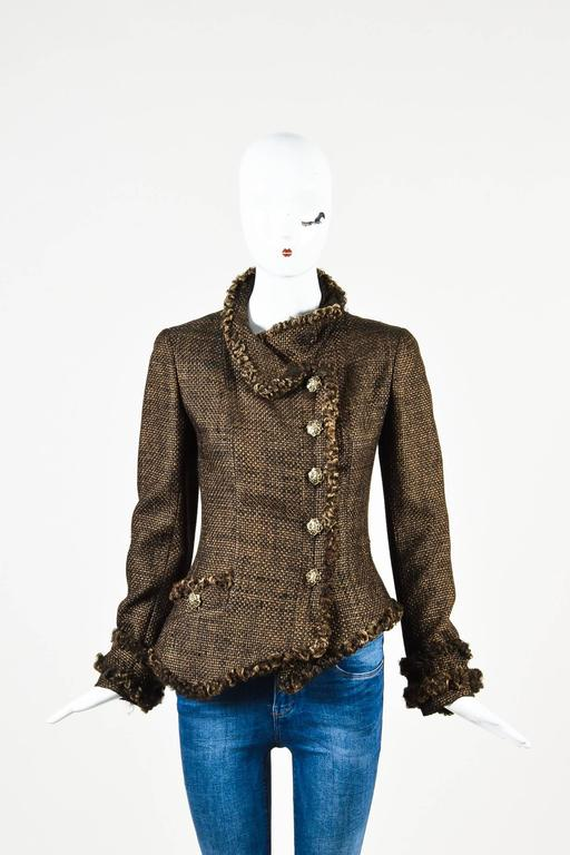Chanel 09A Brown Metallic Tweed Fur Trim Embellished Button LS Jacket Size 38 2