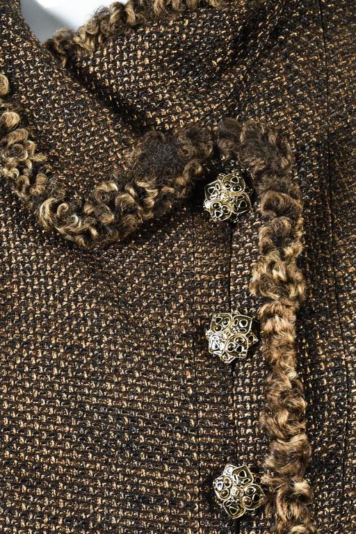 Chanel 09A Brown Metallic Tweed Fur Trim Embellished Button LS Jacket Size 38 4