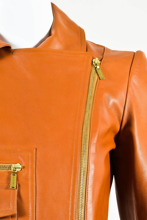 Chanel 01P Brown Leather Asymmetrical Pocket Zip Long Sleeve Moto Jacket SZ 36 4