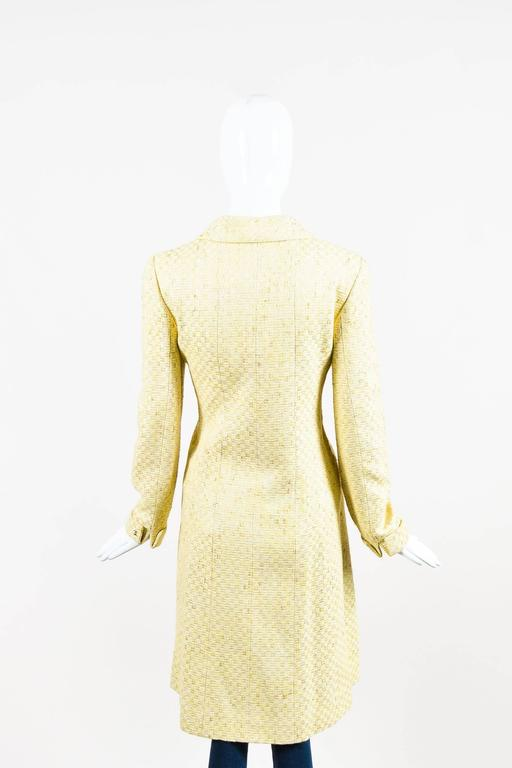 Vintage Chanel Yellow White Tweed Zipped Front Split Long Structured Coat SZ 40 3