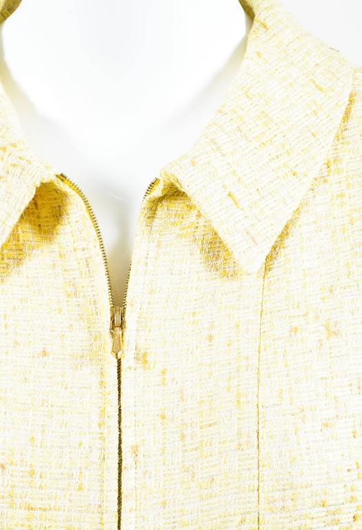 Vintage Chanel Yellow White Tweed Zipped Front Split Long Structured Coat SZ 40 4