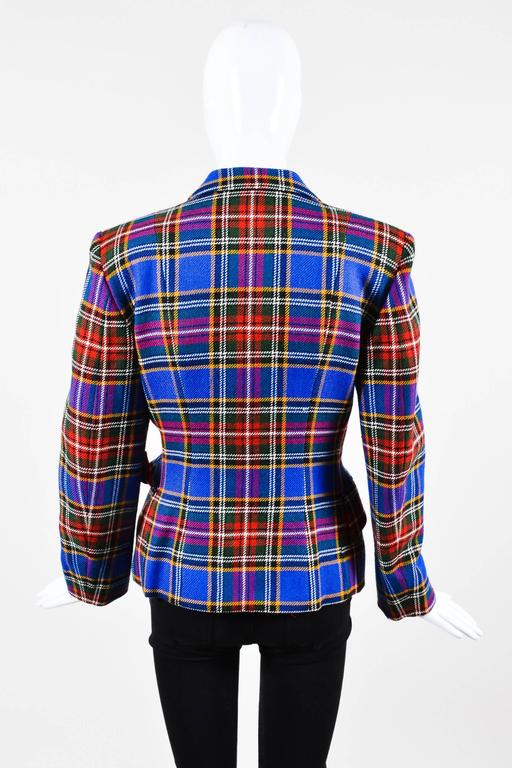 Vintage Moschino Cheap and Chic Blue Wool Plaid Knob Blazer Jacket Size 6 2