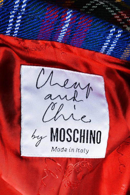Vintage Moschino Cheap and Chic Blue Wool Plaid Knob Blazer Jacket Size 6 4