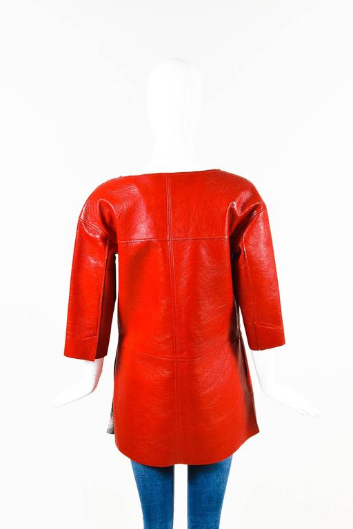 Chanel Red Lambskin Leather Cropped Sleeve Folded Collar Topper Coat Size 34 2