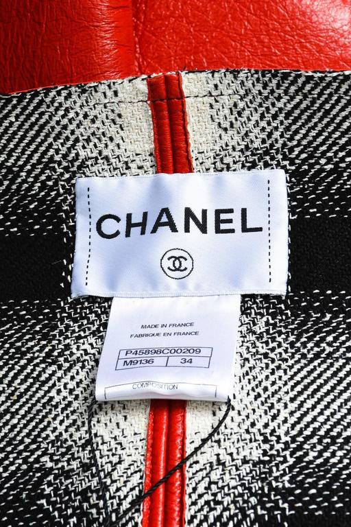 Chanel Red Lambskin Leather Cropped Sleeve Folded Collar Topper Coat Size 34 3