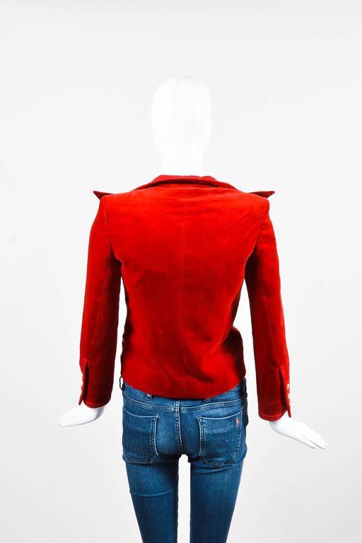 Balmain Red Velvet Satin Trim Gold Tone Metal Single Button Fitted Blazer Jacket 2