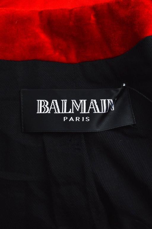 Balmain Red Velvet Satin Trim Gold Tone Metal Single Button Fitted Blazer Jacket 3
