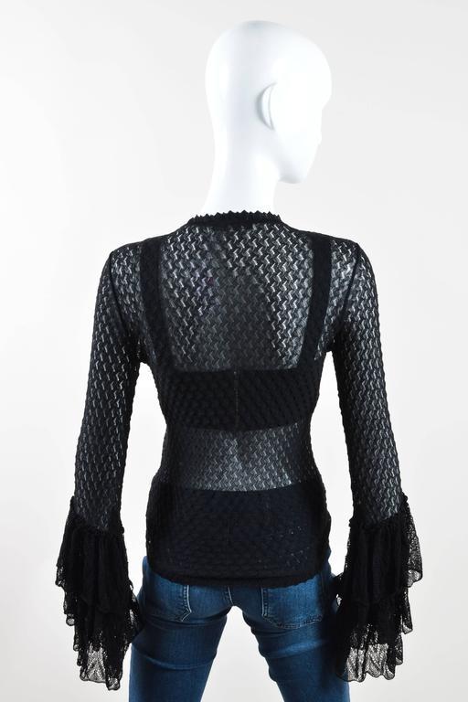 Alexander McQueen Black Semi Sheer Loose Knit Layered Ruffle LS Cardigan SZ M 2