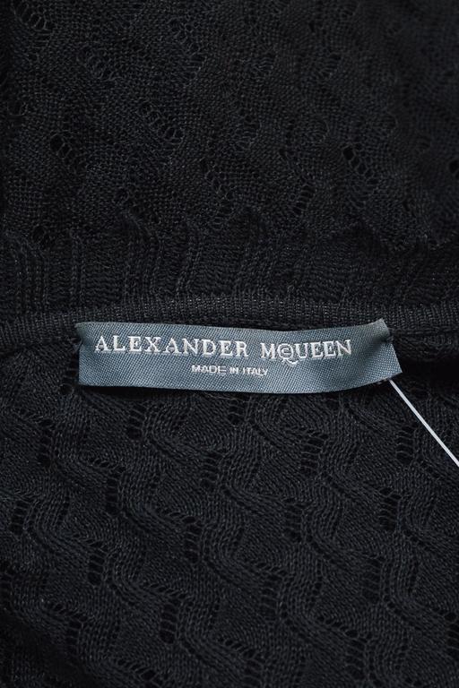 Alexander McQueen Black Semi Sheer Loose Knit Layered Ruffle LS Cardigan SZ M 4