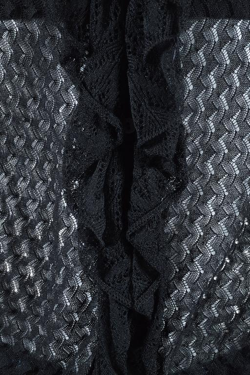 Alexander McQueen Black Semi Sheer Loose Knit Layered Ruffle LS Cardigan SZ M 3