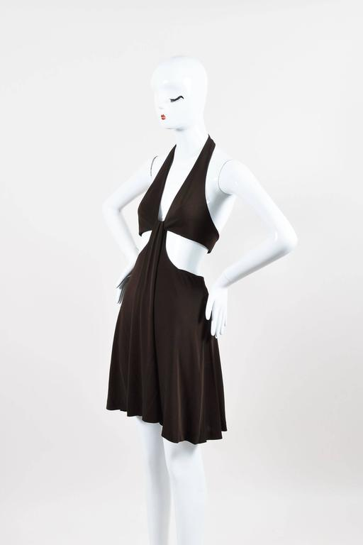 Vintage Herve Leger Brown Crepe Cut Out Sleeveless Halter Dress Size 4 2