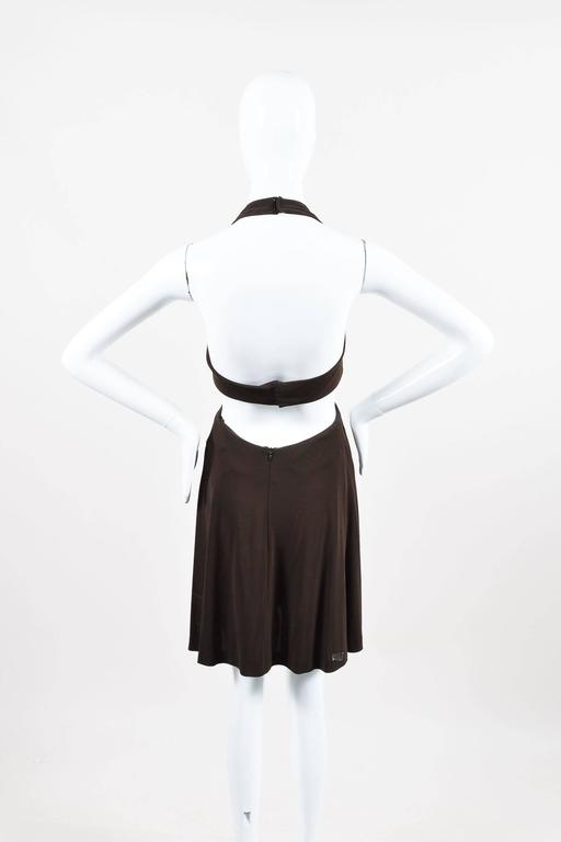 Vintage Herve Leger Brown Crepe Cut Out Sleeveless Halter Dress Size 4 3