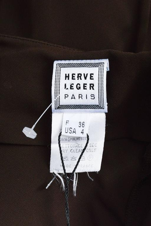 Vintage Herve Leger Brown Crepe Cut Out Sleeveless Halter Dress Size 4 4