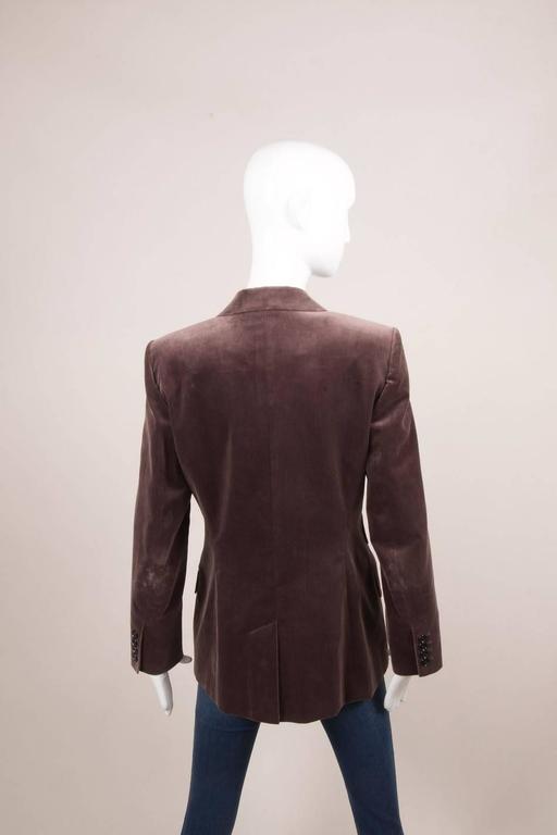 Vintage Hermes Purple Cotton Velvet One Button Long Blazer Size 42 2