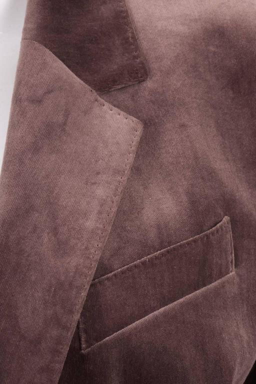 Vintage Hermes Purple Cotton Velvet One Button Long Blazer Size 42 3