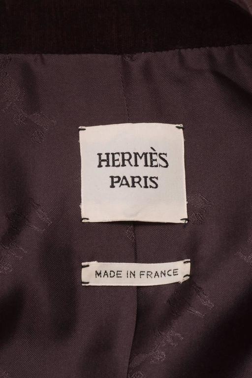 Vintage Hermes Purple Cotton Velvet One Button Long Blazer Size 42 4