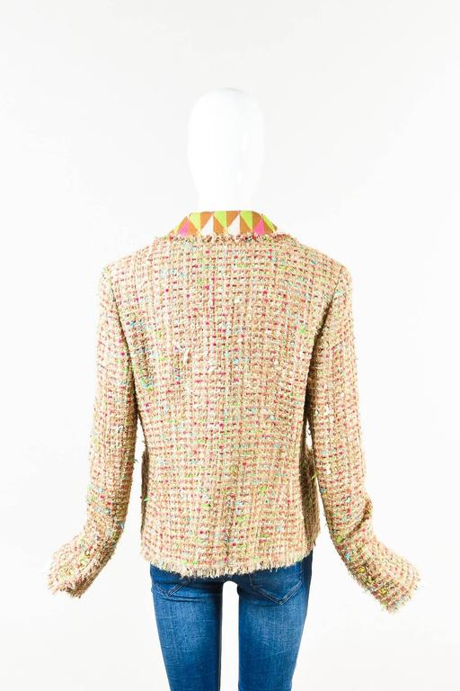 Chanel Tan Multicolor Wool Tweed LS Collared Fray Trim Open Jacket Size 44 2