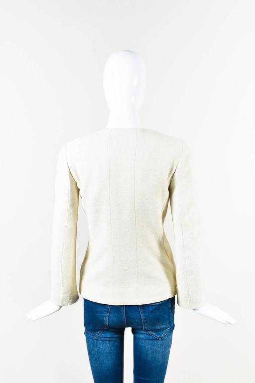 Chanel 00T Cream Cotton Tweed Collarless Two Button Blazer Jacket Size 36 2