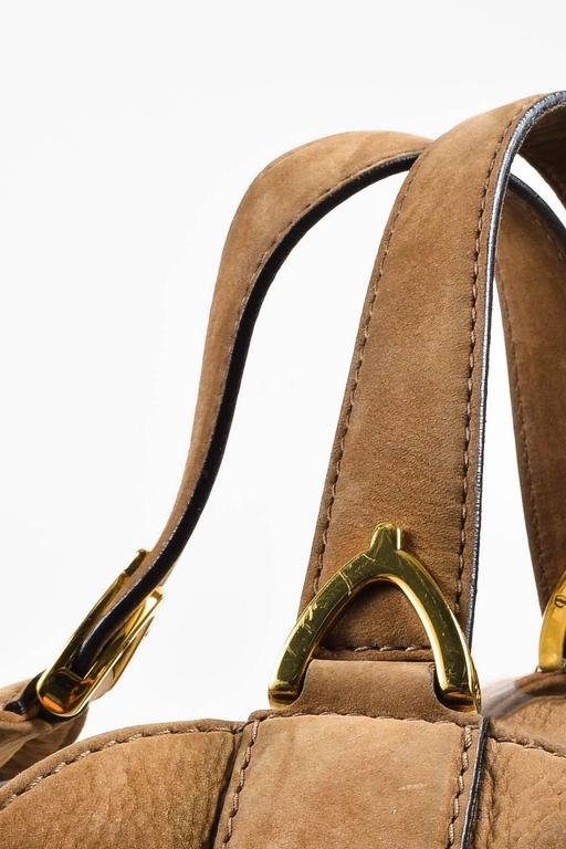 "Gucci Tan Leather ""Soft Stirrup"" Large Hobo Equestrian Detailed Bag 5"