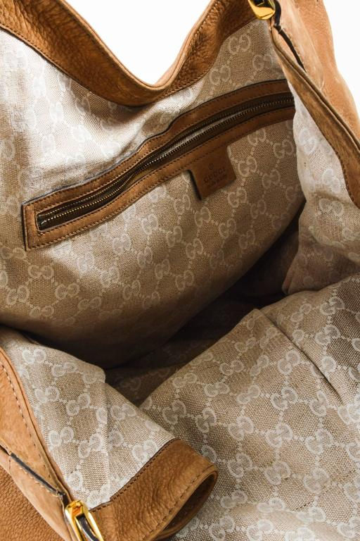 "Gucci Tan Leather ""Soft Stirrup"" Large Hobo Equestrian Detailed Bag 6"