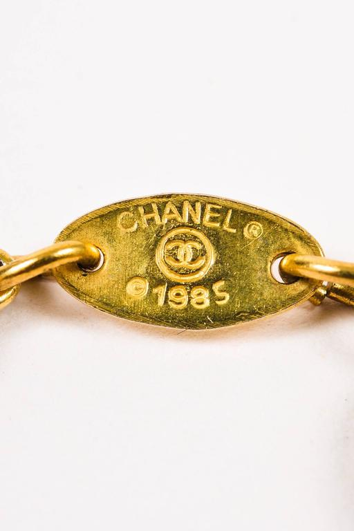 Vintage Chanel 1985 Gold Tone Crystal Oval 'CC' Logo Station Long Necklace 6