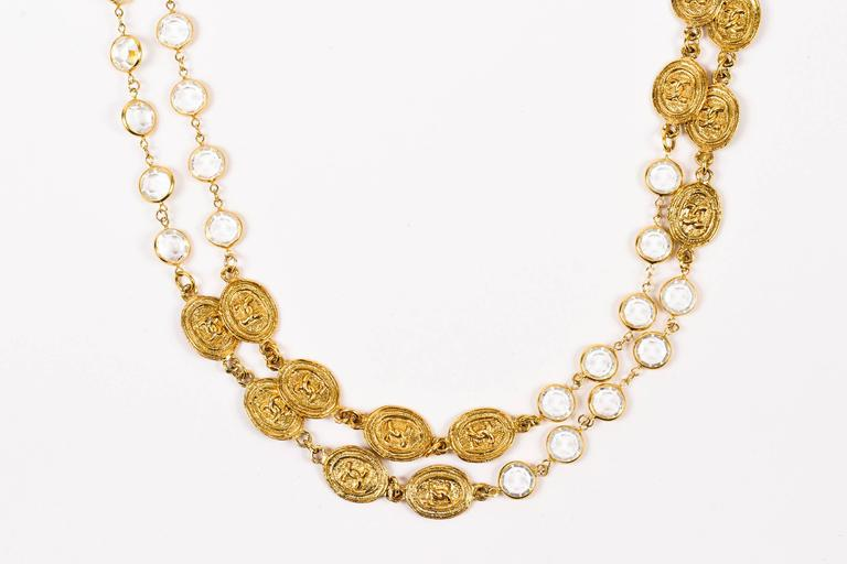 Vintage Chanel 1985 Gold Tone Crystal Oval 'CC' Logo Station Long Necklace 2