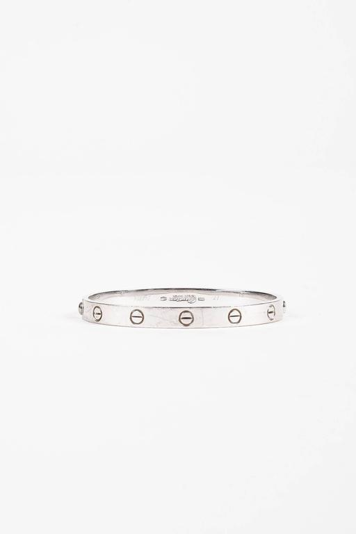 "Vintage Cartier ""Love"" 18K White Gold Bangle Bracelet Size 17 3"