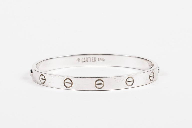 "Vintage Cartier ""Love"" 18K White Gold Bangle Bracelet Size 17 4"