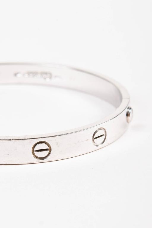 "Vintage Cartier ""Love"" 18K White Gold Bangle Bracelet Size 17 5"