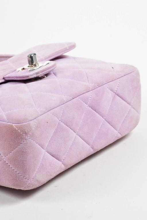 Chanel Lavender Purple Suede Quilted Turn Lock Mini Flap Purse Bag 3