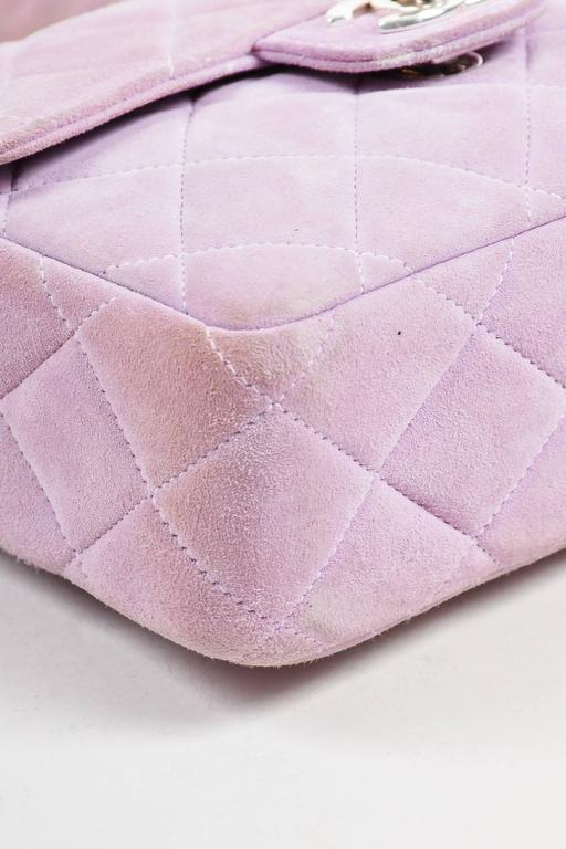 Chanel Lavender Purple Suede Quilted Turn Lock Mini Flap Purse Bag 4