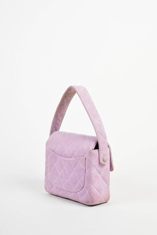 Chanel Lavender Purple Suede Quilted Turn Lock Mini Flap Purse Bag 2