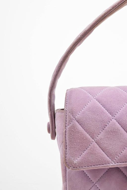 Chanel Lavender Purple Suede Quilted Turn Lock Mini Flap Purse Bag 5