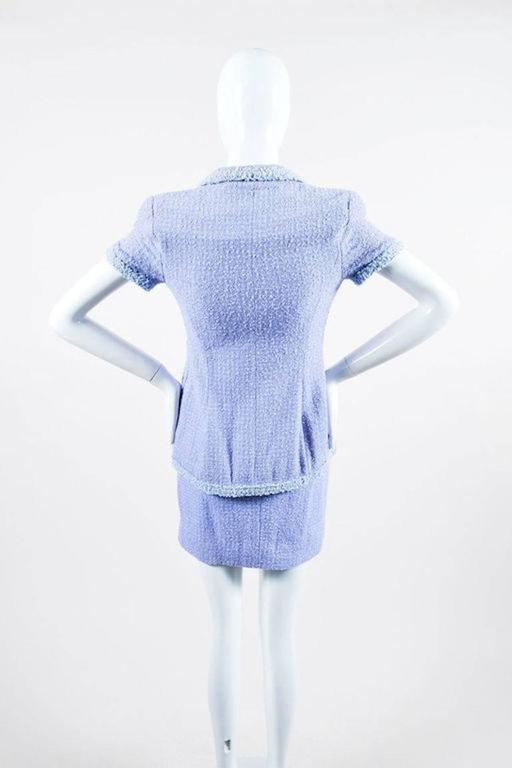 Chanel Boutique 95P Periwinkle Metallic Tweed Sequin Trim SS Skirt Suit Size 38 3