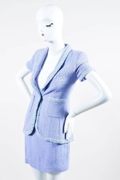 Chanel Boutique 95P Periwinkle Metallic Tweed Sequin Trim SS Skirt Suit Size 38 2
