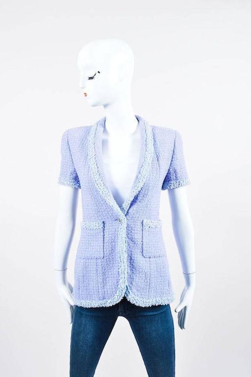 Chanel Boutique 95P Periwinkle Metallic Tweed Sequin Trim SS Skirt Suit Size 38 4
