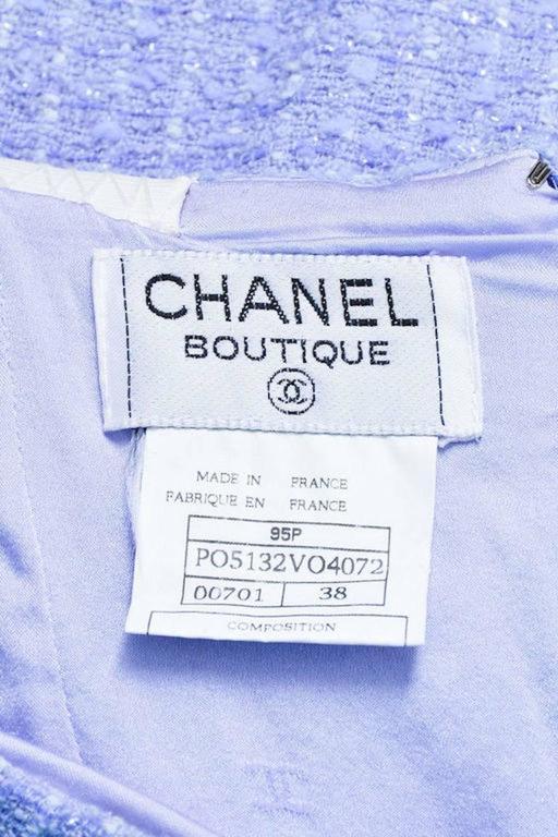 Chanel Boutique 95P Periwinkle Metallic Tweed Sequin Trim SS Skirt Suit Size 38 6