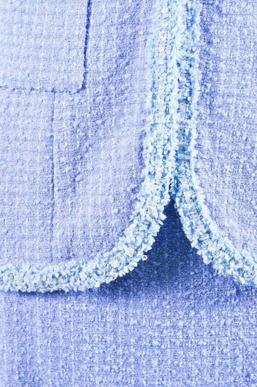 Chanel Boutique 95P Periwinkle Metallic Tweed Sequin Trim SS Skirt Suit Size 38 5