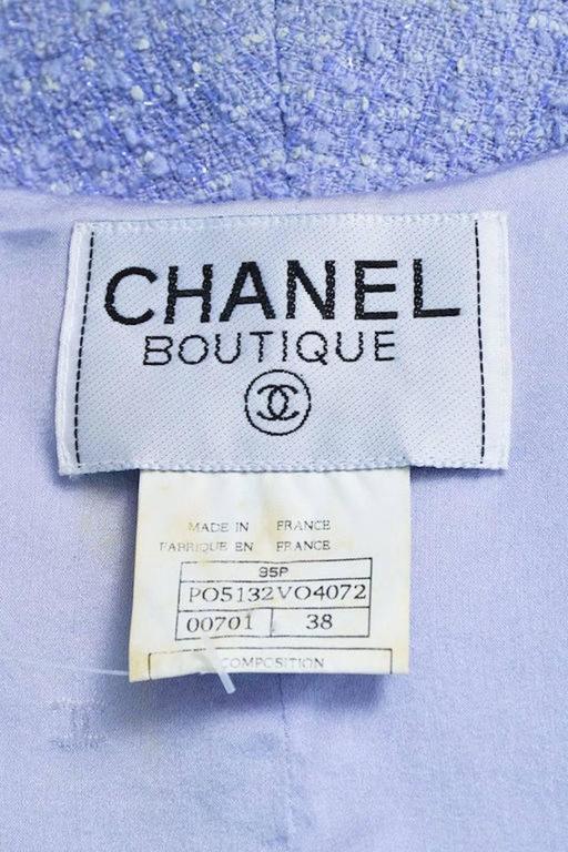 Chanel Boutique 95P Periwinkle Metallic Tweed Sequin Trim SS Skirt Suit Size 38 7