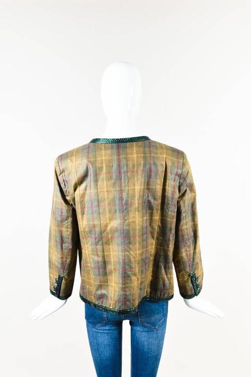 Chanel Tan Green Plaid Python Trim Gunmetal Tone Gripoix Button Jacket SZ 46 2