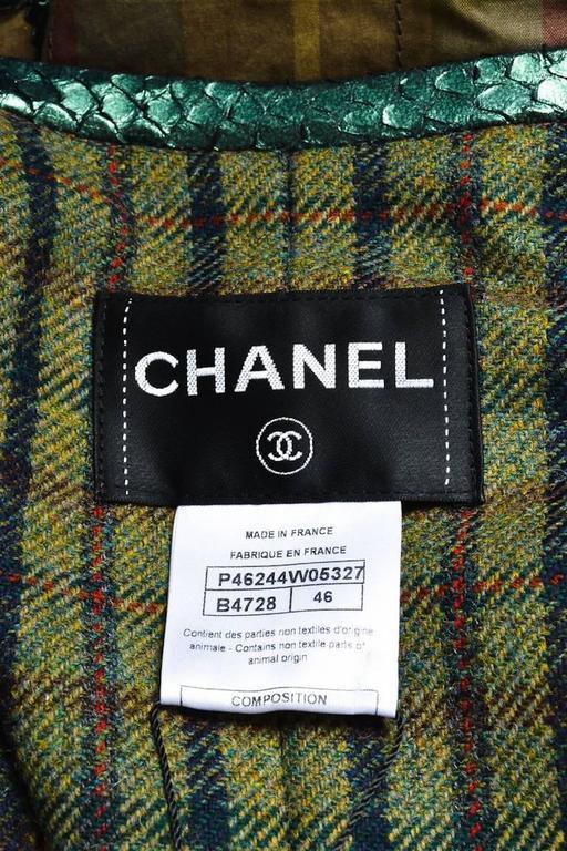 Chanel Tan Green Plaid Python Trim Gunmetal Tone Gripoix Button Jacket SZ 46 3