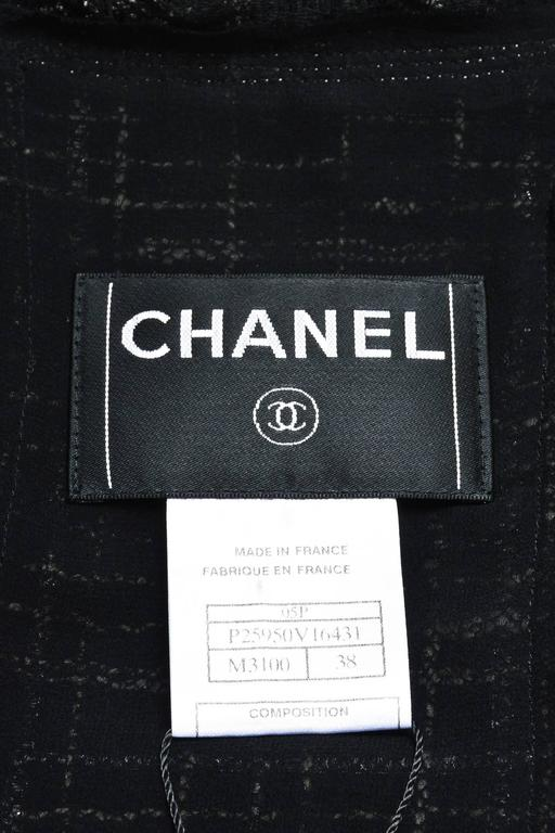 Chanel Black White Tweed Open Front Jacket Size 38 3